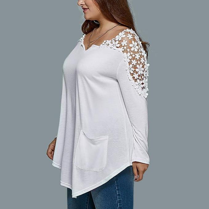 blusas de mujer de moda elegantes tallas grandes, Sannysis camisetas manga larga encaje decoración mujer invierno blusas largas de mujer de fiesta otoñal ...