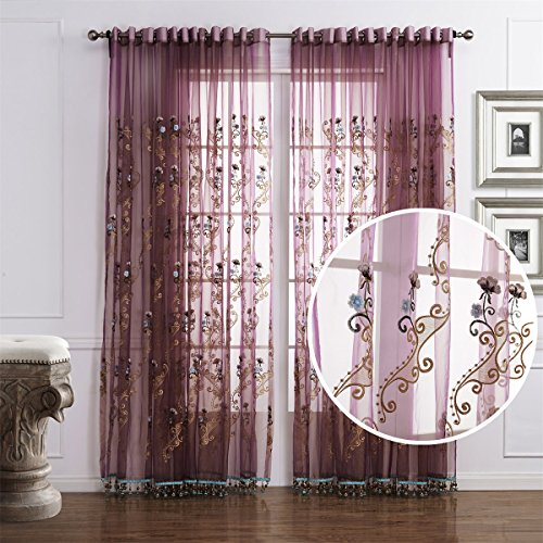 Door Floral Case - Dreaming Casa Solid Semi Sheer Curtain Floral Embroidery Voile Window Treatment Panels 84 Inches Long for Bedroom Living Room 2 Panels (72