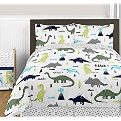 Sweet JoJo Designs 3-Piece Navy Blue and Green Modern Dinosaur Boys or Girls Full/Queen Bedding Childrens Teen Set