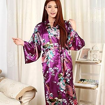 Wanglele Kimono Camisón De Satén De Seda Pijama Batas De Seda Vestidos De Encaje Albornoz,Violeta,Xl: Amazon.es: Hogar