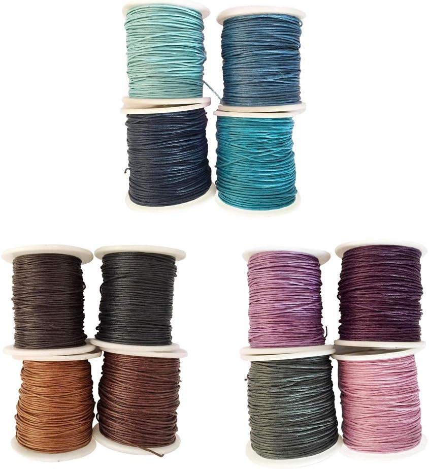 B Blesiya 12Piezas Cordón de Algodón Encerado Cable de Multicolores para Costura Cuerda,1mm 80m: Amazon.es: Hogar