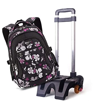 aa8454070953 Fanci Flower Prints Trolley Rolling School Backpack Book Bag Girl s Student  Removable Wheeled Rucksack Travel Bags