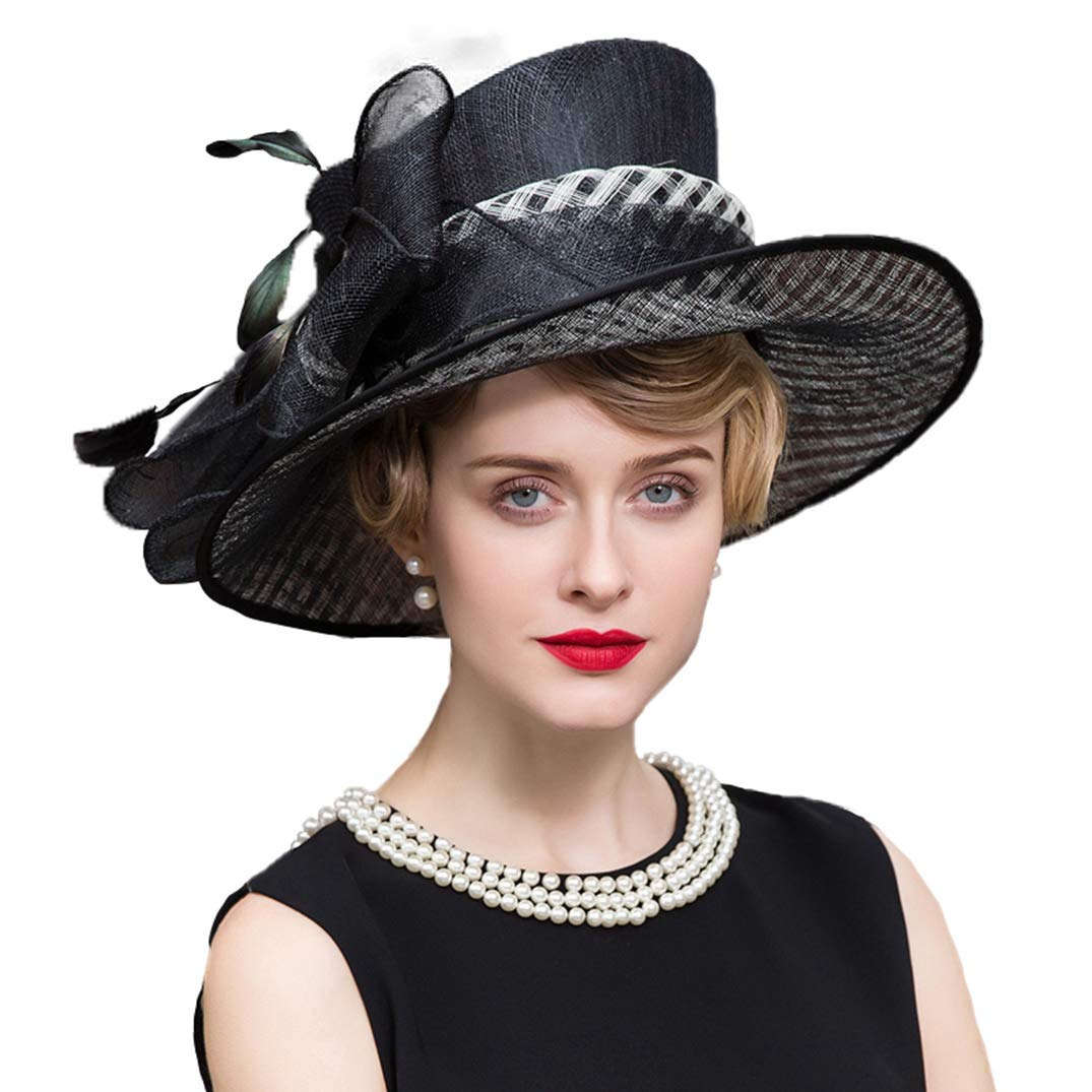 Women Fascinator Formal Wedding Wide Brim Hat Kentucky Derby-Church Hat Black
