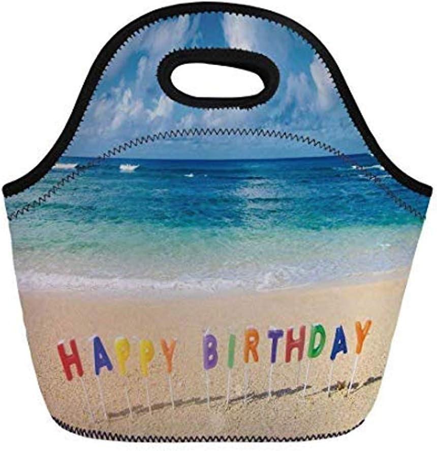 Decoraciones de cumpleaños, cartel de feliz cumpleaños en la playa tropical de Hawai Dulce sorpresa, multicolor, para niños Bolsas de asas con aislamiento térmico para adultos
