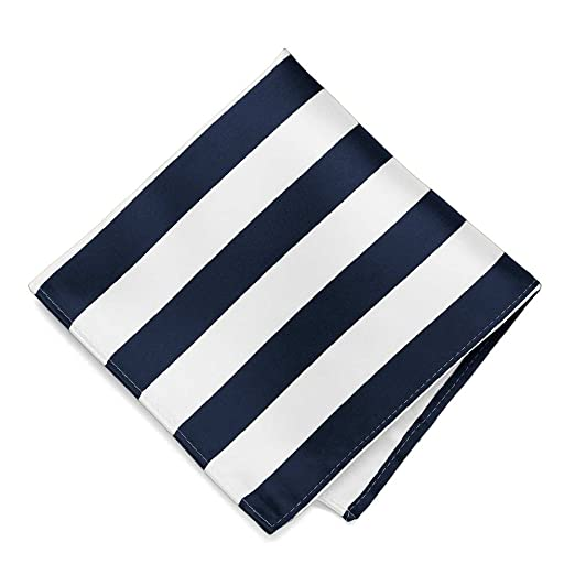 0a723329610c7 Amazon.com: TieMart Navy Blue and White Striped Pocket Square: Clothing