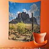 Decorative Wall tapestry Famous Cany Cliff with Dramatic Cloudy Sky Southwest Terrain Place Nature Decor Bedding 60W x 91L INCH