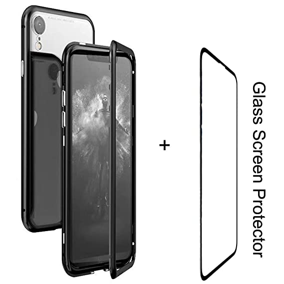 quality design ea915 0b145 Mangix iPhone XR Case,Ultra Thin Slim Magnet Protective Case Metal Frame  Tempered Glass Back [Magnetic Adsorption Technology] [Support Wireless ...