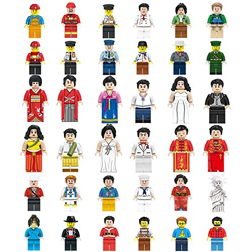 Mini Figures Set-36 Piece Minifigures Set of Professions, Building Bricks of Community People from Different Industries Complete, Building Blocks Kids Educational Toy Gift (36 pieces) (Figure Legs Mini)
