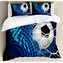 Ambesonne Soccer Duvet Cover Set Queen Size, Goal Football Flying into Net Abstract Dots Pattern Background European Sport, Decorative 3 Piece Bedding Set with 2 Pillow Shams, Blue Black White