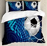 Soccer Queen Size Duvet Cover Set by Ambesonne, Goal Football Flying into Net Abstract Dots Pattern Background European Sport, Decorative 3 Piece Bedding Set with 2 Pillow Shams, Blue Black White