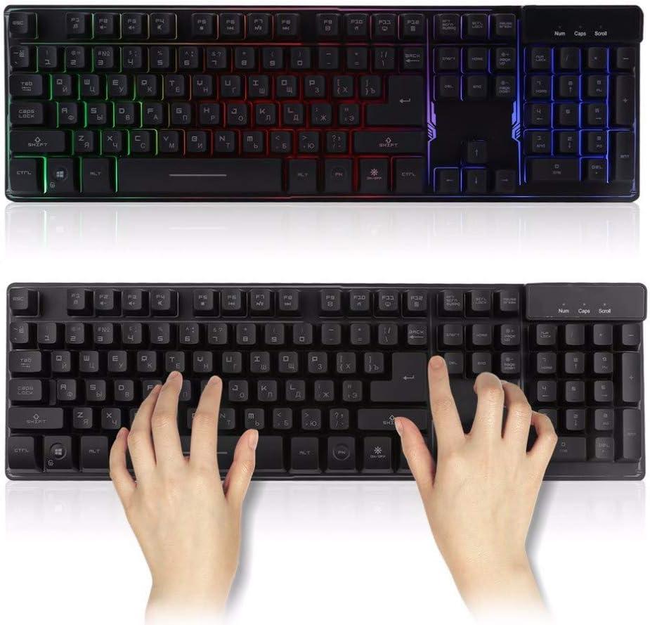 Black DADUIZHANG Profession Game Mechanical Wired Waterproof 104 Key///Version Gaming Keyboard R Floating Led Backlit USB Interface Luminous Keyboard