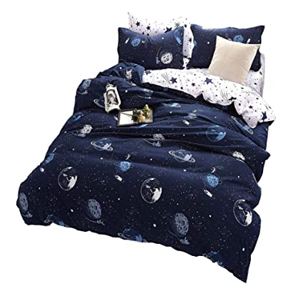 Attractive Space Star Bedding For Kids Boys Girls Bedding Sets Super Soft Bed Sheet  Set Microfiber 4PCS