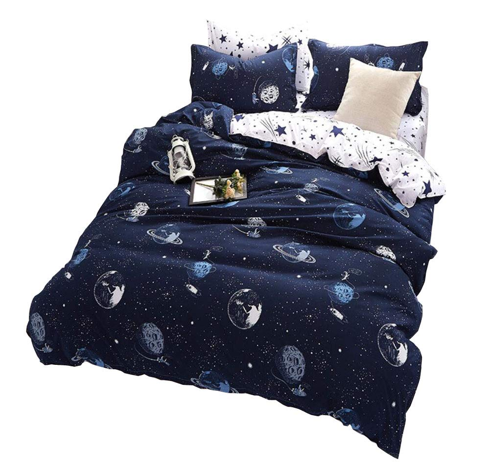STFLY Space and Satellites Bedding for Kids Boys Girls Bedding Sets Super Soft Bed Sheet Set Microfiber 4PCS Bed Sheets Sets (Satellites in Space, Full/Queen) by STFLY (Image #1)