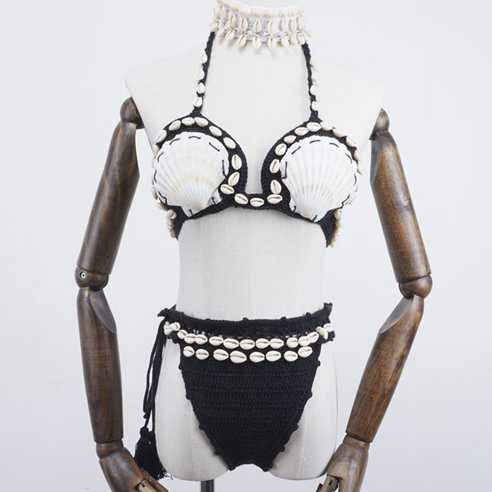 Manuale Tessere Conchiglia Collo Appeso Costume da Bagno Diviso,Robemon Boemo Donne Conchiglia Fatto a Mano a Maglia Bikini Reggiseno Bikini