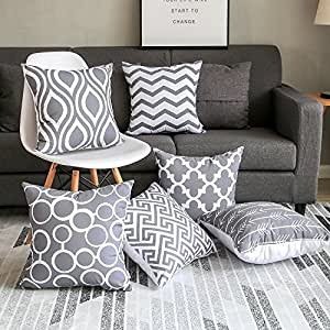 MODERN HOMES 100% Cotton Decorative Throw Pillow Covers 40x40 cm/Cushion Covers 16x16 inch (Set of 6, Grey)