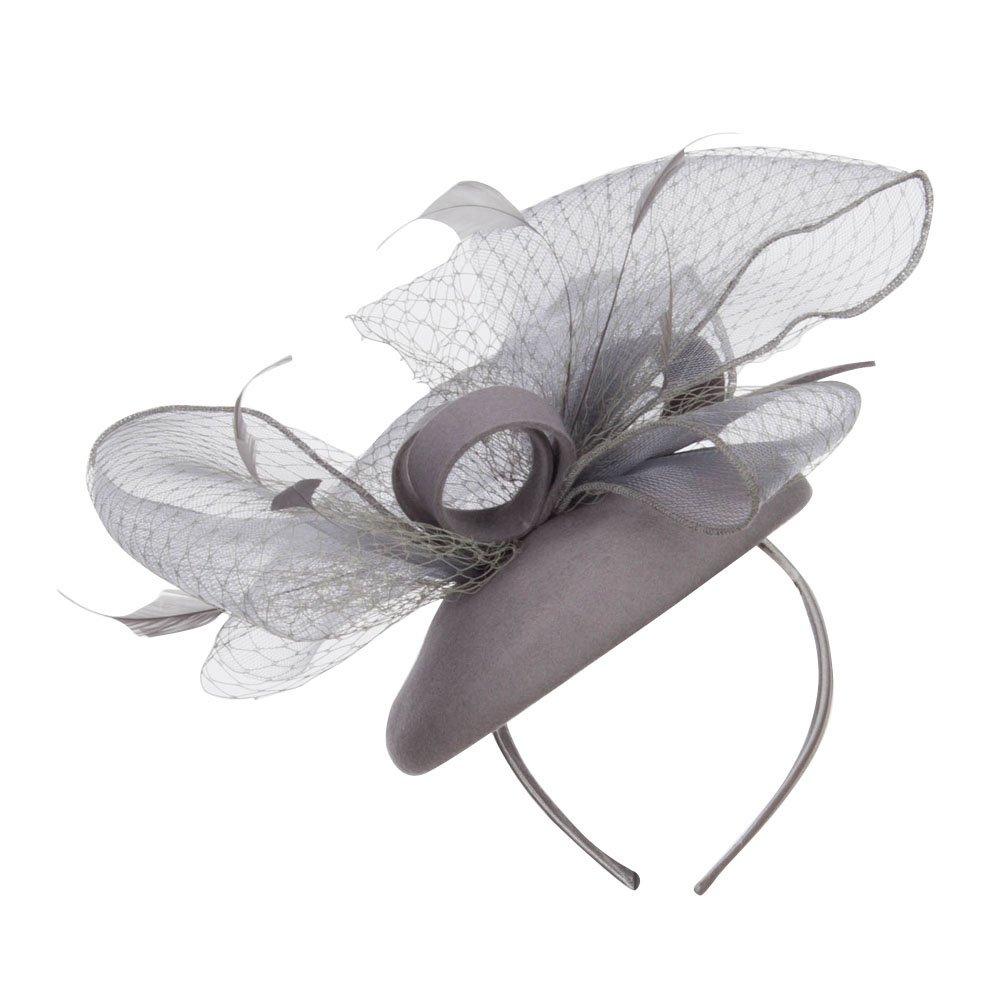 SS/Hat Horsehair Net Crown Fascinator - Grey OSFM