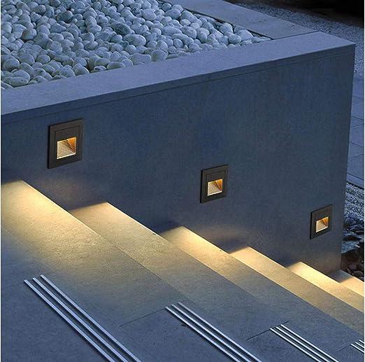 5W Led Cubierta Paso Lámpara De Esquina Sensor Al Aire Libre Paso Escalera Luces Impermeable Empotrado Subterráneo Enterrado Escalera Luz Blanco Cálido Negro_Tipo Normal: Amazon.es: Iluminación