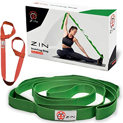 Amazon Com Zin Stretching Strap Yoga With Loops For Stretch Yoga Stretch Strap For Hamstring Stretcher Exercise Yoga Strap For Stretching Yoga Mat Strap Included Sports Outdoors