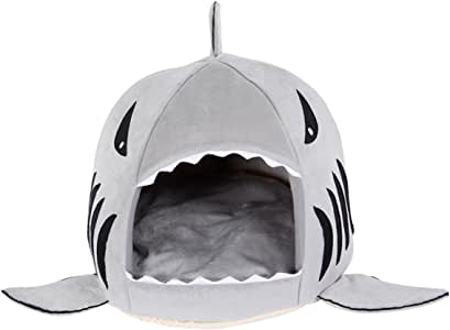 Sungpunet Round Shape Grey Shark Pet Bed House with Soft Removable Cushion for Cat Dog - Small