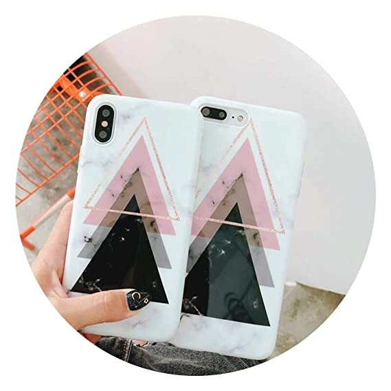 d24da5e477ccff Amazon.com  Marble Case for iPhone Xs Max XR X 10 Fashion Geometric Full  Cover Glossy Phone Cases for iPhone 7 7plus 6s 6 8 Plus Coque