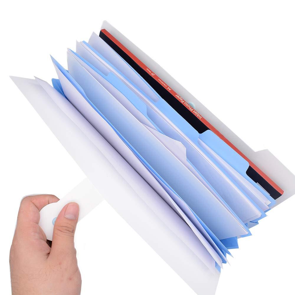Rosa, Blu, Bianco, Verde Hantier 4 Pacchi Cartelle di File Espandibili Cartoon 5 Tasche Formato A4 Organizzatore di Documenti Fisarmonica Impermeabile per Scuola e Ufficio