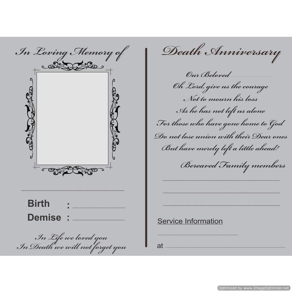 The Invitation Cards Death Memorial And Anniversary Themed