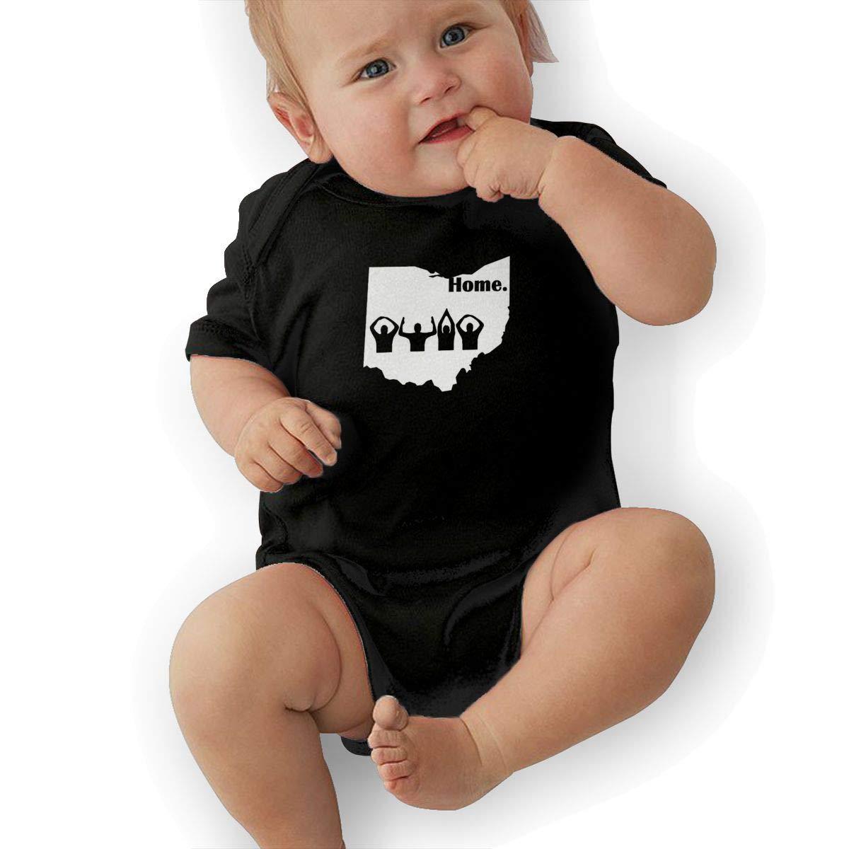 Manlee Ohio Home State Newborn Infant Toddler Baby Girls Boys Bodysuit Short Sleeve 0-24 MonthsBlack