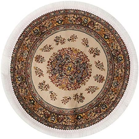Melody Jane Dollhouse Gold Beige Circular Rug Miniature Round Turkish Woven Carpet