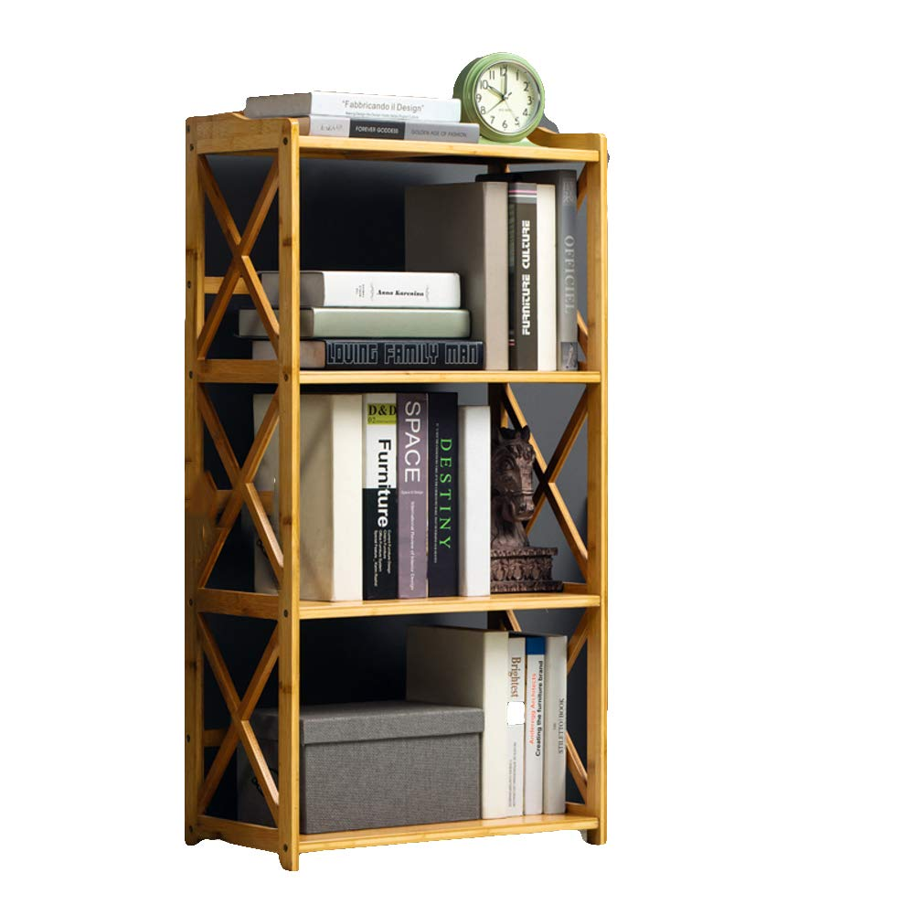 C 50X25X100cm 3-5 Tier Simple Bookcase, Natural Bamboo Easy Assembly Bookshelf for Home Office Storage-B 70X25X70cm