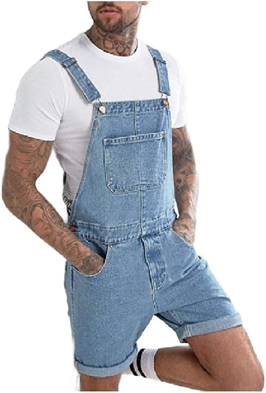 Tootess Men's Jumpsuit Outfits Jeans Denim Short Pant Bib Overall