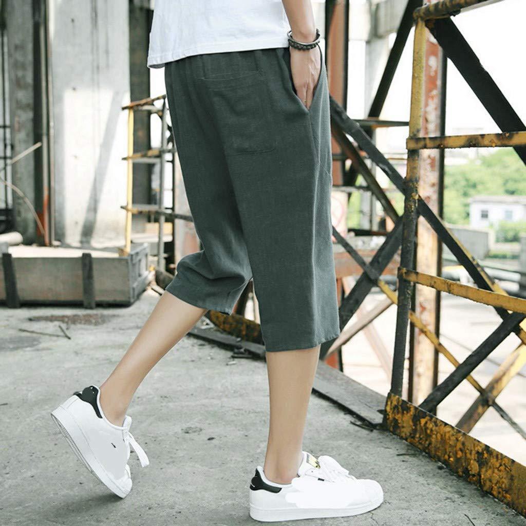 RAINED-Mens Casual Wide Leg Baggy Harem Pants Elastic Waist Linen Capri Trousers Solid Comfortable Loose Fit Hemp Pants