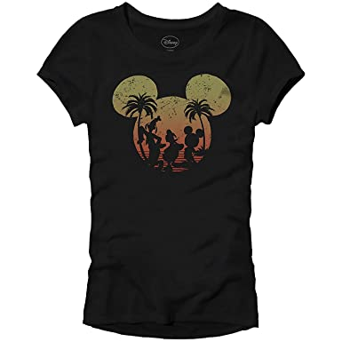 80929f0a4 Amazon.com: Disney Mickey Mouse Sunset Silhouette Disneyland World Tee  Funny Humor Women's Juniors Slim Fit Graphic T-Shirt Apparel: Clothing