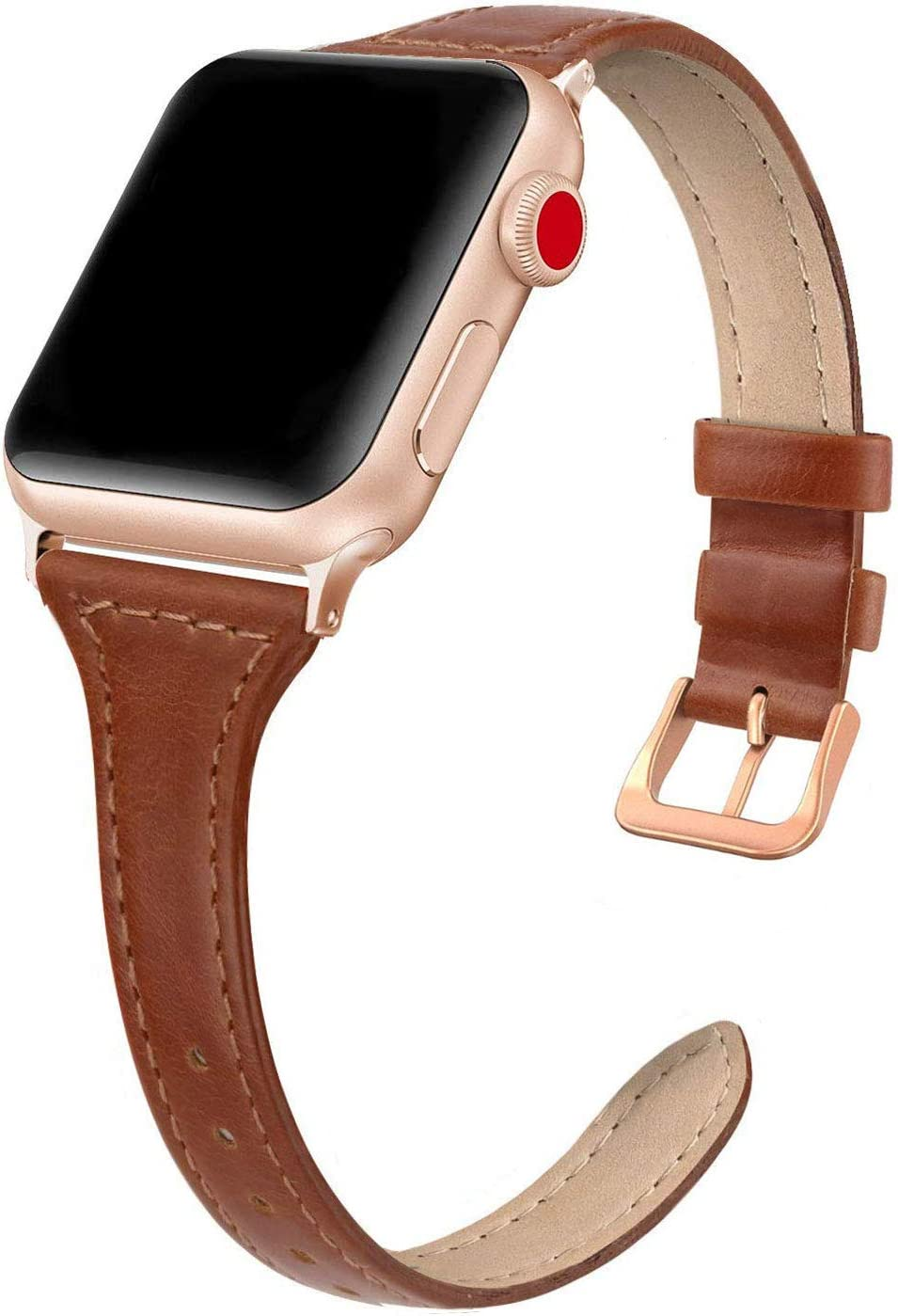 SWEES Leather Band Compatible for iWatch 38mm 40mm, Slim Thin Dressy Genuine Leather Strap Compatible for iWatch Series 6, 5, 4, 3, 2, 1, SE, Sport & Edition Women, Cognac Brown