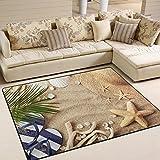 ALAZA Sandbeach Starfish Shell Tropical Area Rug Rugs for Living Room Bedroom 7′ x 5′ For Sale