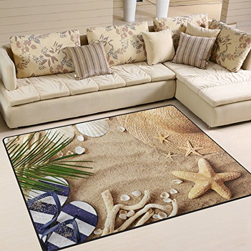 ALAZA Sandbeach Starfish Shell Tropical Area Rug Rugs for Living Room Bedroom 7′ x 5′ For Sale