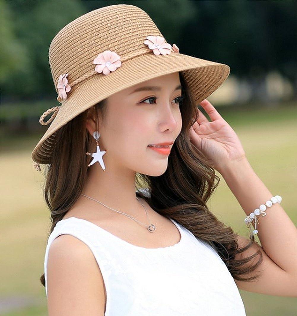 7353d380b0e Westeng Sun Hat Ladies Women Beach Straw Hat Summer Sun protection Wide  Brim Hat Flowers Travel Casual  Amazon.co.uk  Clothing