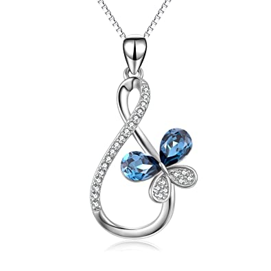 Sterling Silver Infinity Butterfly Pendant Necklace Jewellery for Women D2QSb