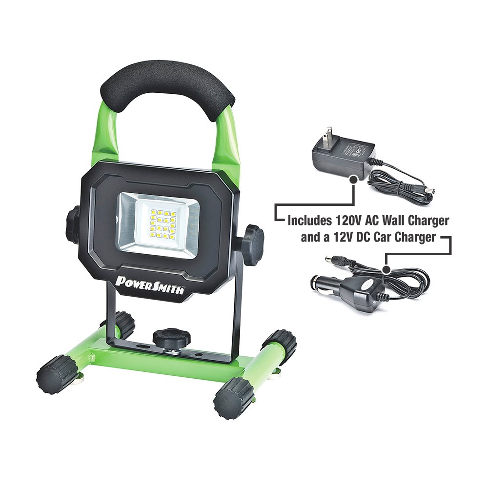 PowerSmith PWLR1110M 900 Lumens Magnet Base with Rechargeable Lithium Ion Battery Portable Work Light with Charger & Metal Stand by POWERSMITH (Image #1)