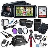 Canon Vixia HF R82 Wi-Fi 1080p HD Video Camera Camcorder + 32GB Card + Battery & Charger + Camera Case + Tripod + LED + 2 Lens Kit
