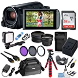 Canon Vixia HF R82 Wi-Fi 1080p HD Video Camera Camcorder + 32GB Card + Battery & Charger + Camera Case + Tripod + LED + 2 Lens Kit