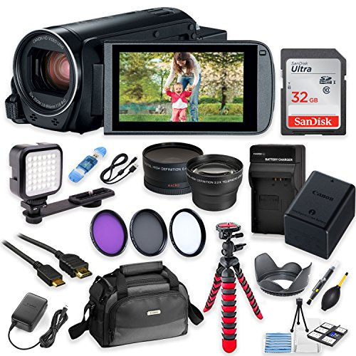 - Canon Vixia HF R82 Wi-Fi 1080p HD Video Camera Camcorder + 32GB Card + Battery & Charger + Camera Case + Tripod + LED + 2 Lens Kit