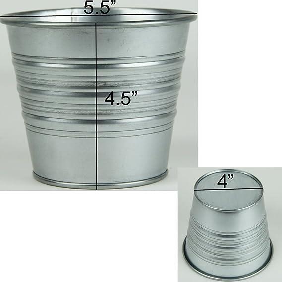 Amazon.com: Juego de 5 macetas de metal galvanizadas para ...