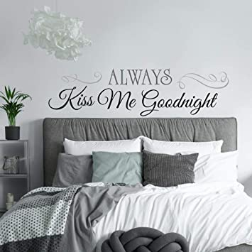 Home Decor Quote Wall Stickers Always Kiss Me Goodnight Children S Bedroom Girl Decor Decals Stickers Vinyl Art Home Decor
