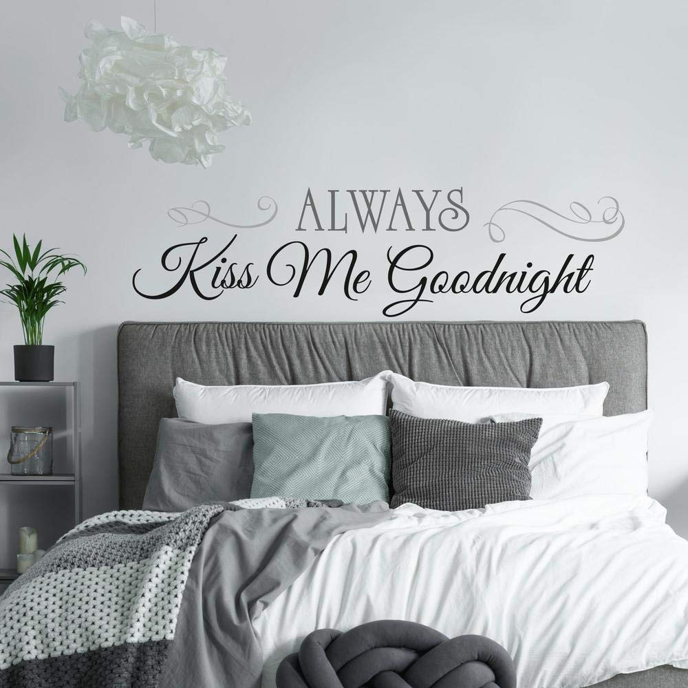 RoomMates Always Kiss Me Goodnight Quote Peel and Stick Wall Decals , 10 Inch x 18 Inch – RMK2084SCS