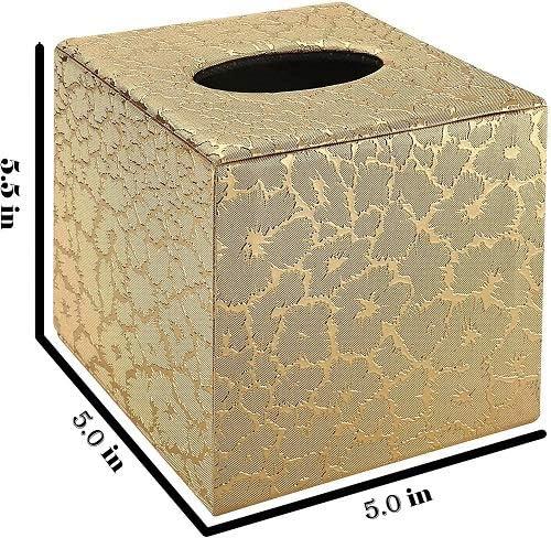PU-Leder goldfarben Taschentuchbox-Halter f/ür Badezimmer-Zubeh/ör Taschentuchbox-Abdeckung quadratisch goldfarben