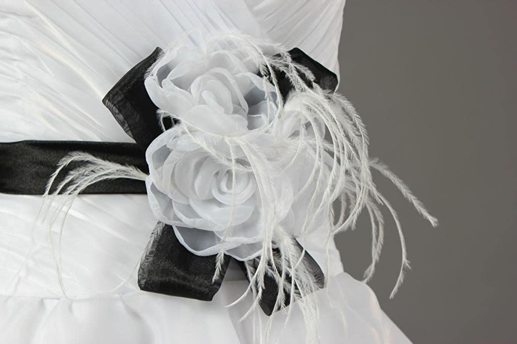 ANTS Womens Strapless Short Wedding Dress with Feathers Black Sashes