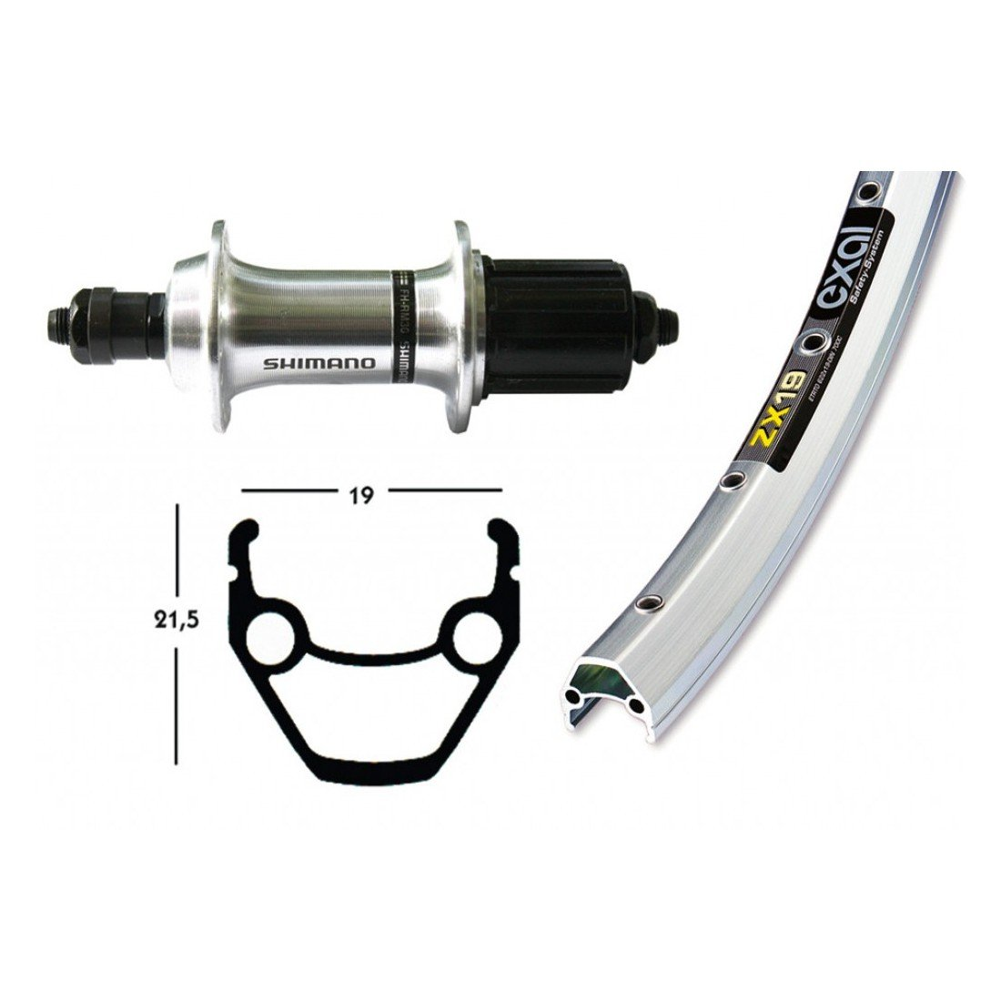 Bike-Parts 28´´ Hinterrad Exal ZX 19 + Shimano Tourney TX500 8-10-fach (QR)