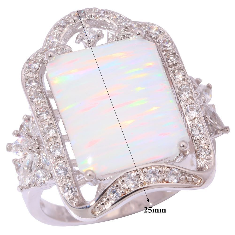 CiNily Created White Fire Opal White Topaz Zircon Rhodium Plated for Women Jewelry Ring Size 7-9