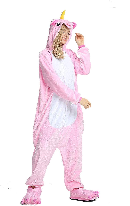 Onesie Adultes Pyjamas Femmes Chaud V/êtements de Nuit Homewear Dinosaure Point Licorne Animal Cartoon Combishort Flannel pyjamasque Jumpsuit