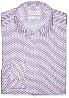 Calvin Klein Men's Non Iron Slim Fit Floral Print Spread Collar Dress Shirt